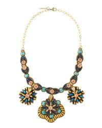 Deepa Gurnani - Multicolor Crystal Beaded Starburst Medallion Necklace - Lyst