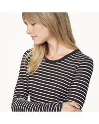 James Perse | Gray Bell Sleeve Striped Crew | Lyst