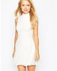ASOS | Natural Sleeveless Lace Skater Dress | Lyst