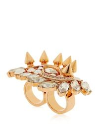 Mawi | Metallic Crystal Cluster Double Finger Ring | Lyst