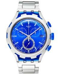 Swatch - Blue Unisex Swiss Chronograph Endless Energy Silver-tone Aluminum Bracelet Watch 44mm Yys4001ag for Men - Lyst