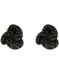 Oscar de la Renta - Black Resin Swirl Flower Button Earring - Lyst
