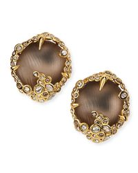 Alexis Bittar | Gray Crystal Lace Lucite Button Clip Earrings | Lyst