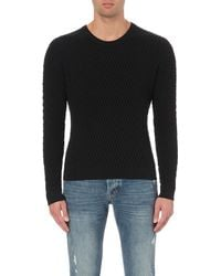 Sandro | Blue Textured Cotton And Wool-blend Jumper for Men | Lyst