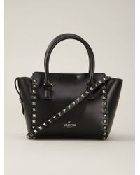 Valentino | Black Rockstud Leather Trapeze Tote | Lyst