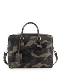 Prada - Black Camo Saffiano Zip-around Briefcase for Men - Lyst
