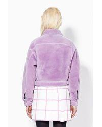 3.1 Phillip Lim - Purple Denim Style Shearling Jacket - Lyst