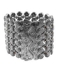 Konstantino Metallic Sterling Silver Wide Citrine Cuff