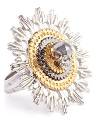 Alexander McQueen | Metallic Skull And Flower Ring | Lyst