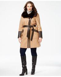 Via Spiga | Natural Plus Size Faux-fur-collar Asymmetrial Belted Coat | Lyst