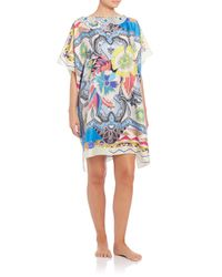 Etro - Blue Embroidered-neck Silk Poncho - Lyst
