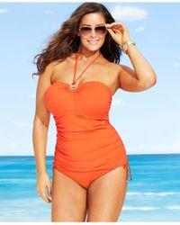Michael Kors | Orange Michael Plus Size High-waist Side-tie Swim Brief Bottom | Lyst