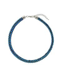 TOPSHOP | Womens Blue Rhinestone Tube Necklace  Blue | Lyst