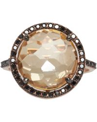 Suzanne Kalan - Pink Rose Gold Champagne Topaz and Black Diamond Ring - Lyst