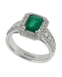 Effy - Green Diamond, Emerald And 14K White Gold Ring, 0.68 Tcw - Lyst