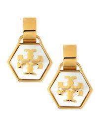 Tory Burch | Metallic Pearlescent Geo Logo Earrings | Lyst
