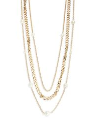 Panacea | Metallic Faux Pearl Layered Chain Necklace | Lyst