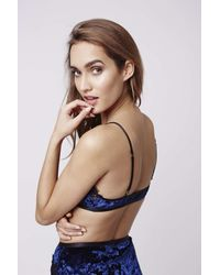 TOPSHOP - Blue Velvet And Lace Triangle Bra - Lyst