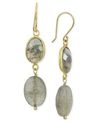 Macy's - Green Labradorite Oval Bezel Drop Earrings In Gold-plated Sterling Silver - Lyst