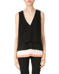 Altuzarra - Black V-neck Pleated Hem Top - Lyst