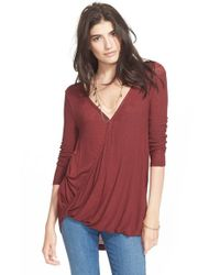 Free People - Purple 'miss Rose' Surplice Long Sleeve Top - Lyst