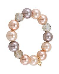 Carolee - Pink Goldtone Blush Glass Pearl Stretch Bracelet - Lyst