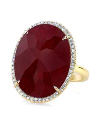 Anne Sisteron | Red 14kt Yellow Gold Ruby Diamond Oval Cocktail Ring | Lyst