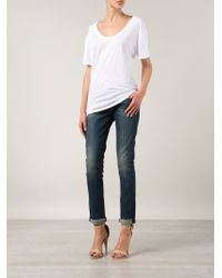 Lacausa - White Scoop Neck T-Shirt - Lyst