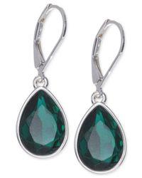 Nine West | Green Silver-Tone Emerald-Colored Teardrop Earrings | Lyst