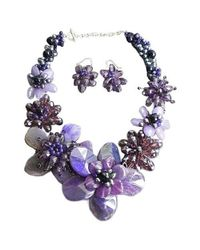 Aeravida | Purple Agate &amethyst Floral Necklace/earring Set | Lyst