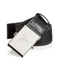 Prada | Black Nylon & Leather Cinture Belt for Men | Lyst