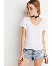 Forever 21 | White Slub Knit Pocket Tee | Lyst