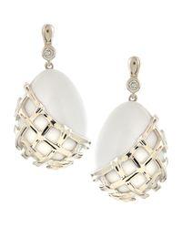 Slane | Crescent Weave White Onyx & Diamond Earrings | Lyst