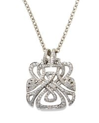 Biba - White Gold and Diamond Large Logo Pendant - Lyst