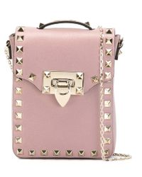 Valentino - Pink Rockstud Leather Cross-Body Bag  - Lyst