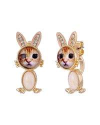 Betsey Johnson | Pink Costume Critters Bunny Front Back Earrings | Lyst
