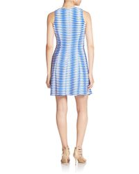Donna Morgan | White Geo Stripe Fit And Flare Dress | Lyst