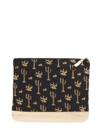 Alola - Black Cactus Print Canvas & Leather Clutch - Lyst