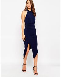 Sistaglam - Blue Ayanah Mid Length Dress With Extreme Thigh Split - Lyst