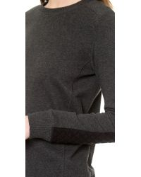 Vince - Gray Quilted Detail Sweatshirt - Winter White - Lyst