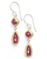 Anna Beck | Pink Precious Stone Double Drop Earrings | Lyst