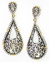 Effy | Metallic Sterling Silver with 18kt Yellow Gold Filigree Teardrop Earrings | Lyst