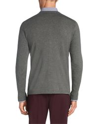 HUGO - Gray Cardigan In A Cotton Blend With Silk And Cashmere: 'scardinus' for Men - Lyst