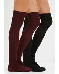 Forever 21 | Black Ribbed Over-the-knee Socks Pack | Lyst
