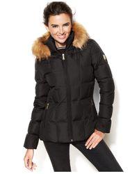 Calvin Klein | Gray Faux-fur-trim Hooded Puffer Down Coat | Lyst