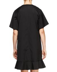 Proenza Schouler - Black Short-sleeve Peplum-hem Dress - Lyst