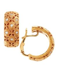 Roberto Coin | Metallic Diamond Granada Hoop Earrings Rose Gold | Lyst