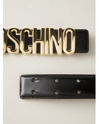 Moschino | Black Logo Plaque Belt | Lyst