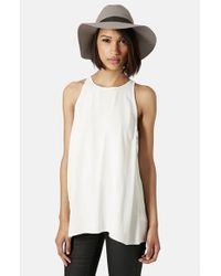 TOPSHOP | Gray 'milo' Split Back Sleeveless Top | Lyst