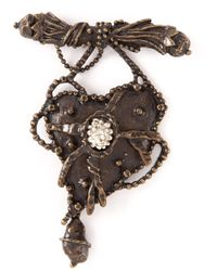 Christian Lacroix | Brown Gun Heart Brooch | Lyst